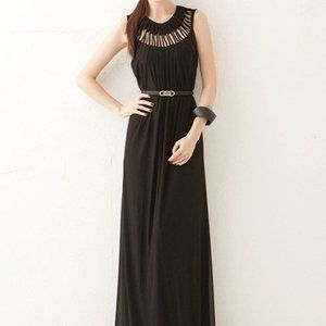 Black Maxi Dress Hollow Out Round Neck Chiffon